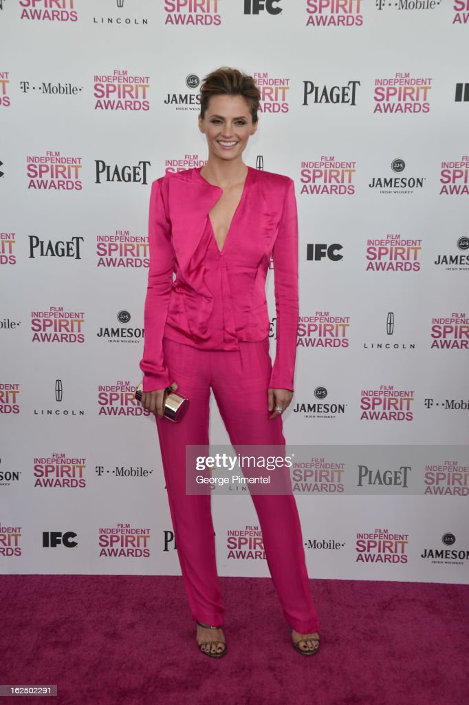 Actress Stana Katic arrives at the 2013 Film Independent Spirit Awards at Santa Monica Beach on February 23, 2013 in Santa Monica, California on February 23, 2013 in Santa Monica, California.