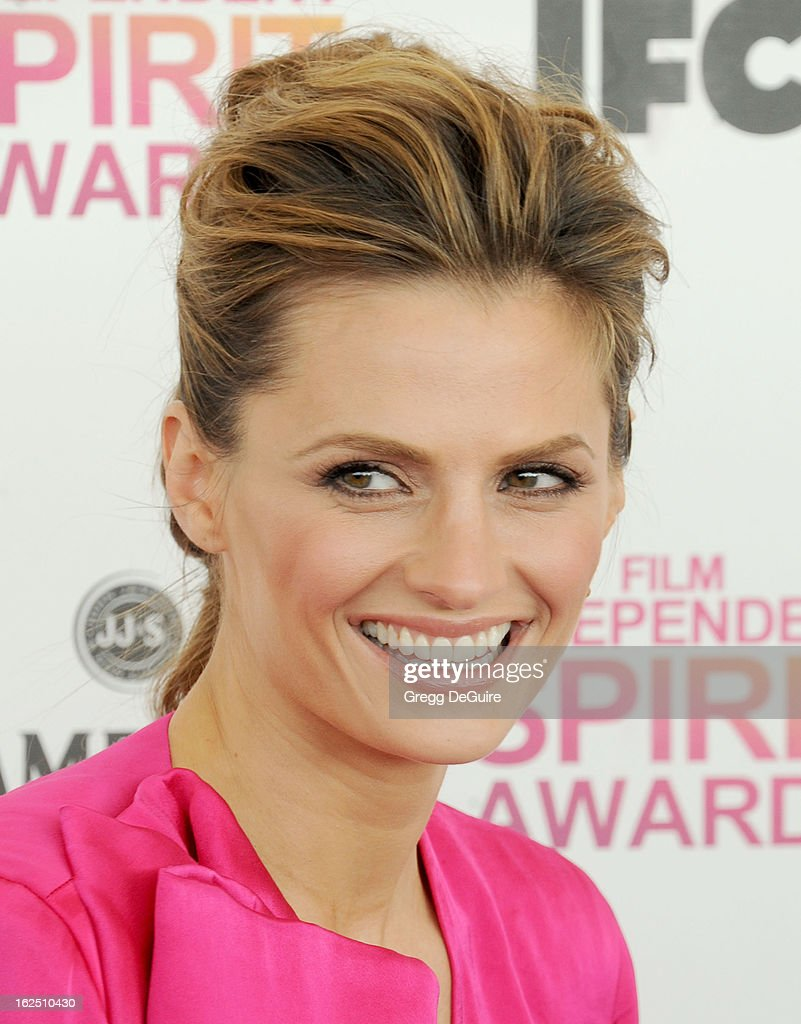 Actress Stana Katic arrives at the 2013 Film Independent Spirit Awards at Santa Monica Beach on February 23, 2013 in Santa Monica, California.