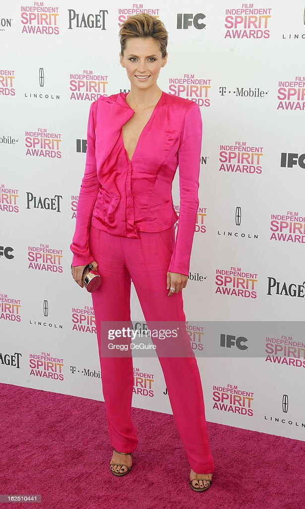 Actress Stana Katic arrives at the 2013 Film Independent Spirit Awards at Santa Monica Beach on February 23, 2013 in Santa Monica, California.
