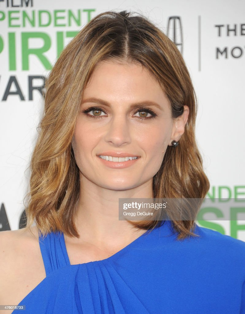 Actress <a gi-track='captionPersonalityLinkClicked' href=/galleries/search?phrase=Stana+Katic&family=editorial&specificpeople=2081035 ng-click='$event.stopPropagation()'>Stana Katic</a> arrives at the 2014 Film Independent Spirit Awards on March 1, 2014 in Santa Monica, California.