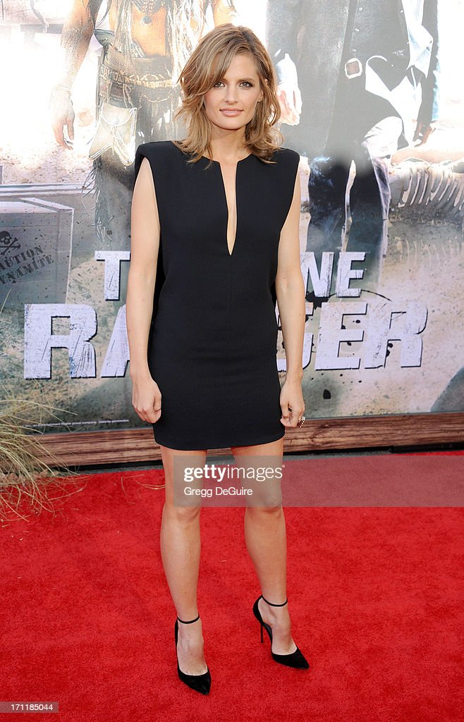 Actress <a gi-track='captionPersonalityLinkClicked' href=/galleries/search?phrase=Stana+Katic&family=editorial&specificpeople=2081035 ng-click='$event.stopPropagation()'>Stana Katic</a> arrives at 'The Lone Ranger' World Premiere at Disney's California Adventure on June 22, 2013 in Anaheim, California.