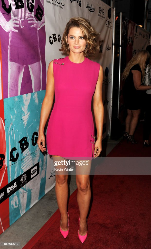Actress <a gi-track='captionPersonalityLinkClicked' href=/galleries/search?phrase=Stana+Katic&family=editorial&specificpeople=2081035 ng-click='$event.stopPropagation()'>Stana Katic</a> arrives at the screening of XLrator Media's 'CBGB' at the Arclight Theatre on October 1, 2013 in Los Angeles, California.
