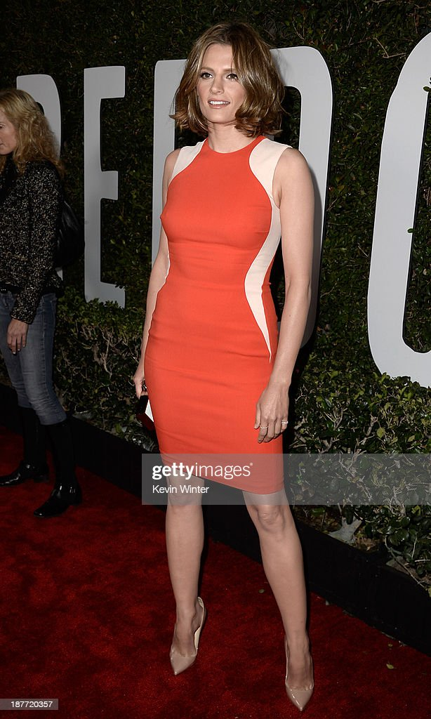 Actress <a gi-track='captionPersonalityLinkClicked' href=/galleries/search?phrase=Stana+Katic&family=editorial&specificpeople=2081035 ng-click='$event.stopPropagation()'>Stana Katic</a> arrives for the premiere of The Weinstein Company's 'Mandela: Long Walk To Freedom' at ArcLight Cinemas on November 11, 2013 in Hollywood, California.