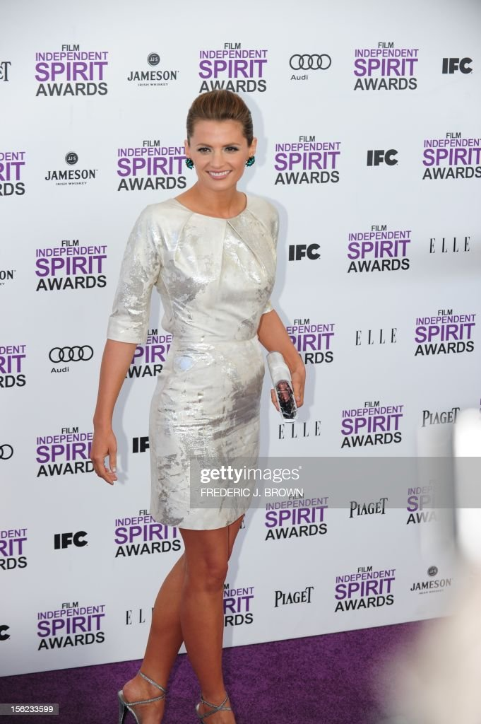 Actress Stana Katic arrives on the red carpet on February 25, 2012 for the Independent Spirit Awards in Santa Monica, California.