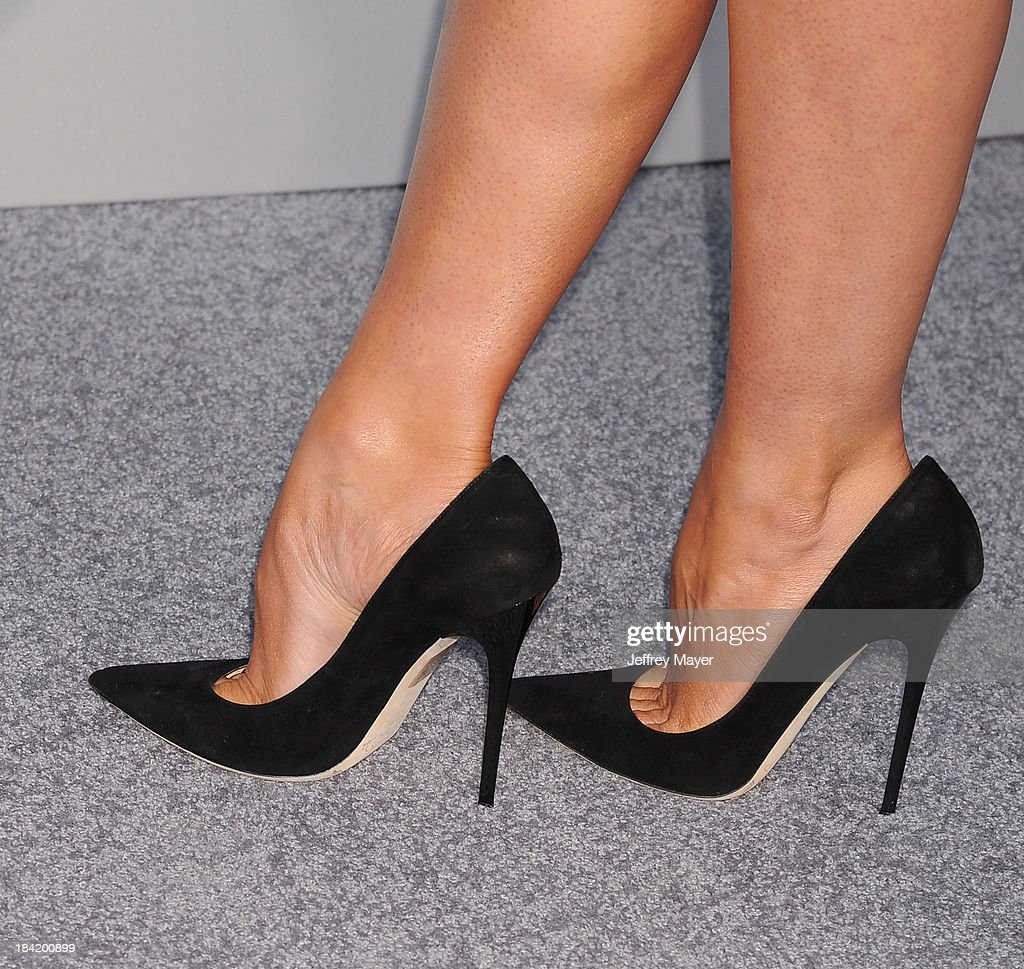 Actress Stana Katic (shoe detail) at the Los Angeles premiere of 'Elysium' at Regency Village Theatre on August 7, 2013 in Westwood, California.