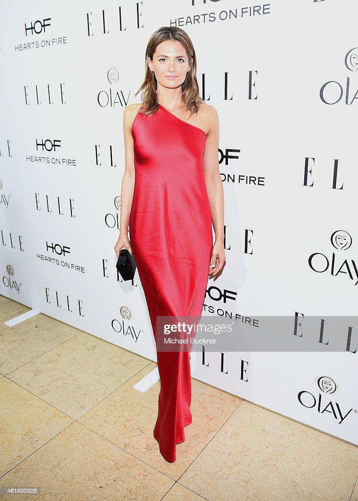 Actress <a gi-track='captionPersonalityLinkClicked' href=/galleries/search?phrase=Stana+Katic&family=editorial&specificpeople=2081035 ng-click='$event.stopPropagation()'>Stana Katic</a> attends ELLE's Annual Women in Television Celebration on January 13, 2015 at Sunset Tower in West Hollywood, California. Presented by Hearts on Fire and Olay.