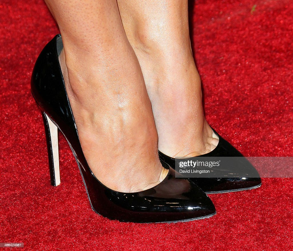 Actress Stana Katic (shoe detail) attends the 2014 Writers Guild Awards L.A. Ceremony at JW Marriott Los Angeles at L.A. LIVE on February 1, 2014 in Los Angeles, California.