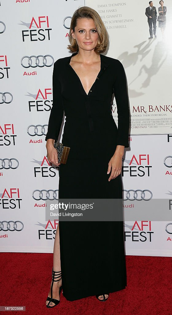 Actress <a gi-track='captionPersonalityLinkClicked' href=/galleries/search?phrase=Stana+Katic&family=editorial&specificpeople=2081035 ng-click='$event.stopPropagation()'>Stana Katic</a> attends the AFI FEST 2013 presented by Audi premiere of Walt Disney Pictures' 'Saving Mr. Banks' at TCL Chinese Theatre on November 7, 2013 in Hollywood, California.