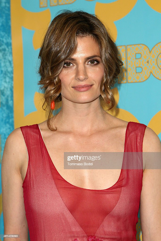 Actress <a gi-track='captionPersonalityLinkClicked' href=/galleries/search?phrase=Stana+Katic&family=editorial&specificpeople=2081035 ng-click='$event.stopPropagation()'>Stana Katic</a> attends the HBO'S Post Golden Globe Party held at The Beverly Hilton Hotel on January 11, 2015 in Beverly Hills, California.