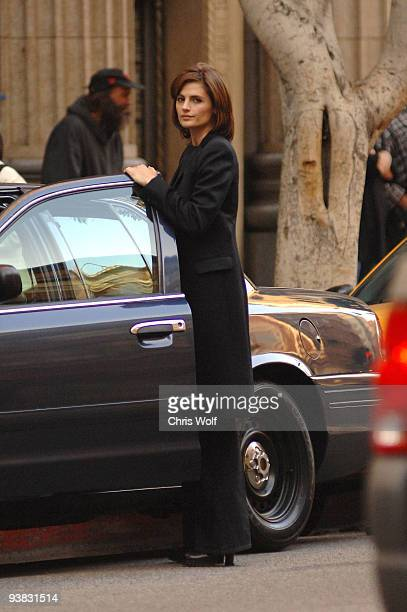 Actress Stana Katic is seen on the set of 'Castle' on December 3 2009 in Los Angeles California