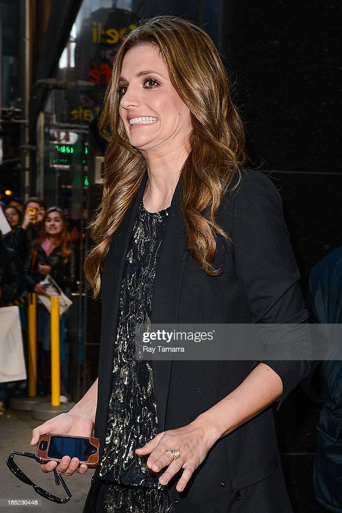 Actress Stana Katic leaves the 'Good Morning America' taping at the ABC Times Square Studios on April 1, 2013 in New York City.