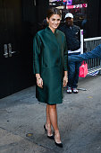 Actress Stana Katic leaves the 'Good Morning America' taping at the ABC Times Square Studios on November 10 2014 in New York City