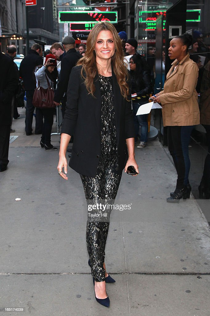 Actress Stana Katic of 'Castle' visits the set of 'Good Morning America' at GMA Studios on April 1 2013 in New York City