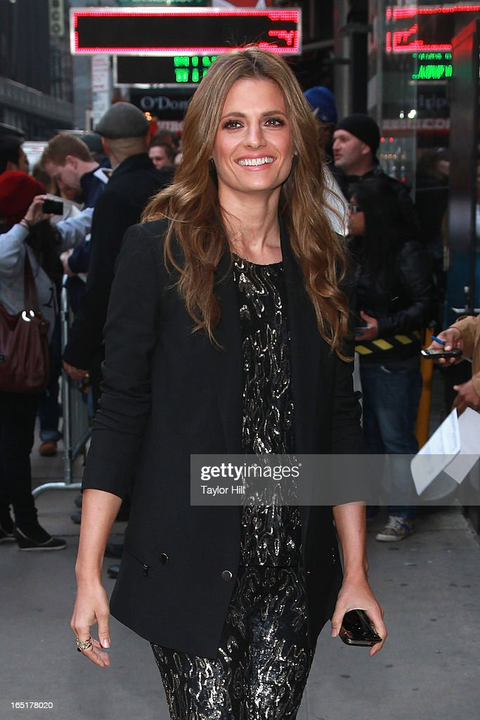 Actress Stana Katic of 'Castle' visits the set of 'Good Morning America' at GMA Studios on April 1, 2013 in New York City.