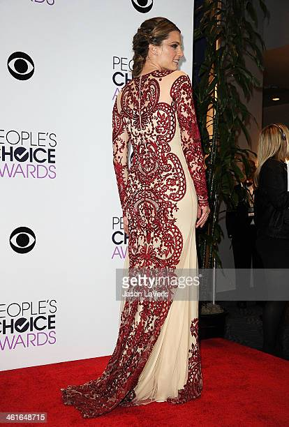 Actress Stana Katic poses in the press room at the 40th annual People's Choice Awards at Nokia Theatre LA Live on January 8 2014 in Los Angeles...