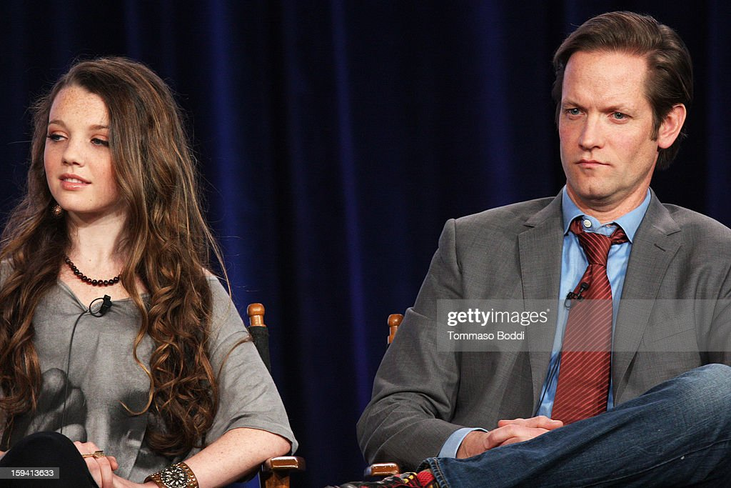 Actress Stefania Owen (L) and actor Matt Letscher of the TV show 'The Carrie Diaries' attend the 2013 TCA Winter Press Tour CW/CBS panel held at The Langham Huntington Hotel and Spa on January 13, 2013 in Pasadena, California.