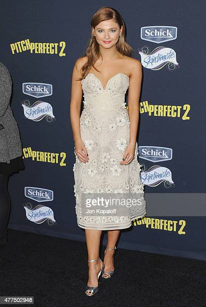 Actress Stefanie Scott arrives at the Los Angeles Premiere 'Pitch Perfect 2' at Nokia Theatre LA Live on May 8 2015 in Los Angeles California