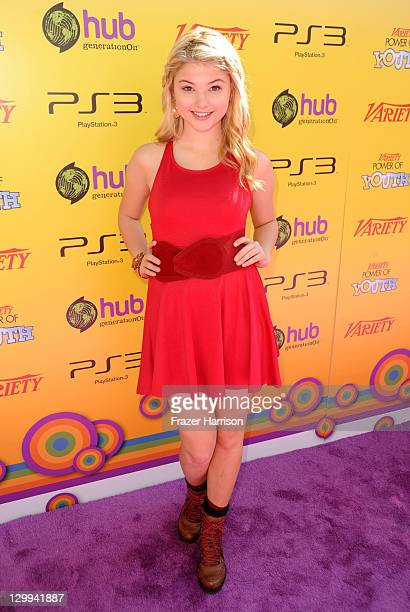 Actress Stefanie Scott arrives at Variety's 5th annual Power Of Youth event presented by The Hub at Paramount Studios on October 22 2011 in Hollywood...
