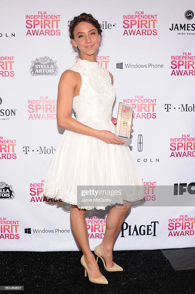 Actress <a gi-track='captionPersonalityLinkClicked' href=/galleries/search?phrase=Stella+Maeve&family=editorial&specificpeople=3957724 ng-click='$event.stopPropagation()'>Stella Maeve</a> poses with the Robert Altman award for Starlet during the 2013 Film Independent Spirit Awards at Santa Monica Beach on February 23, 2013 in Santa Monica, California.