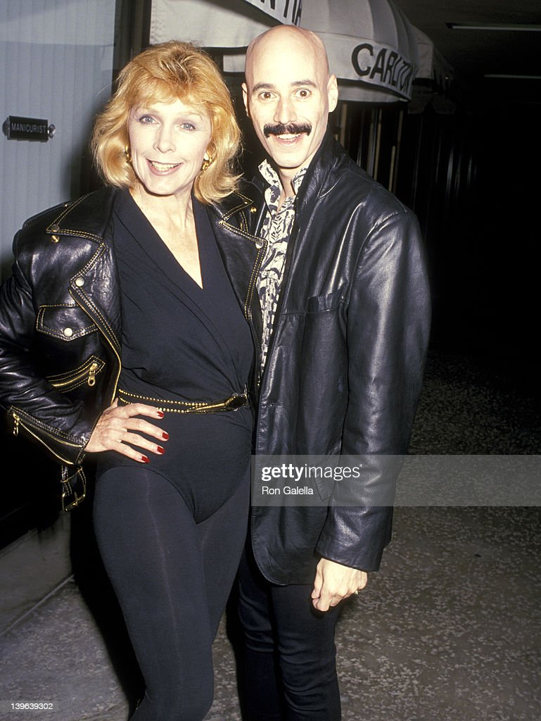 Actress Stella Stevens and musician Bob Kulick on April 21 1989 dine at Kate Mantilini Restaurant in Beverly Hills California