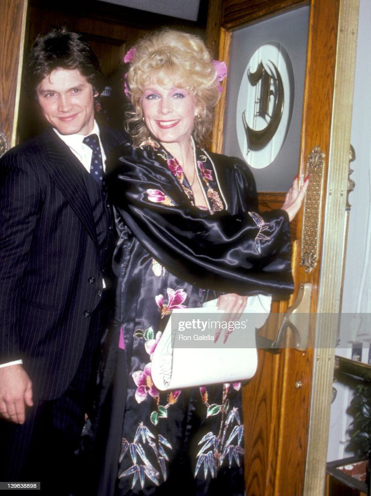 Actress Stella Stevens and son actor Andrew Stevens attend Stella Stevens' 45th Birthday Party on February 21 1981 at Chasen's Restaurant in Beverly...