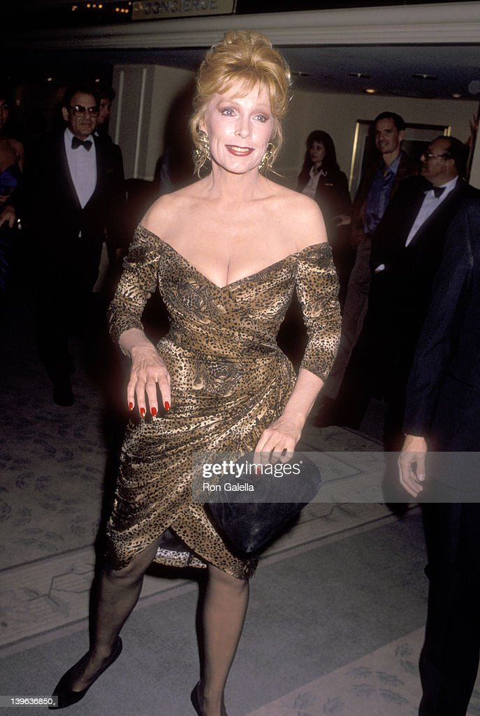 Actress Stella Stevens attends the Friars Club of California's Lifetime Achievement Award Salute to Bob Hope on November 7 1989 at Beverly Hilton...