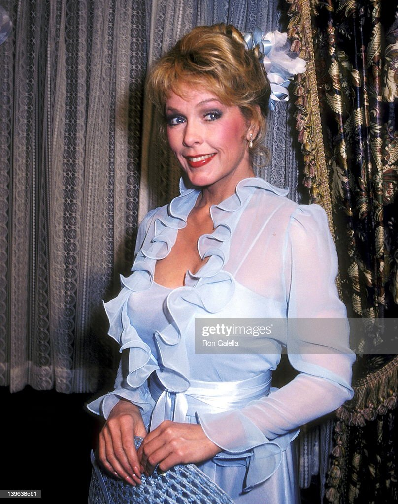 Actress Stella Stevens takes a break from filming the television series 'Flamingo Road' on February 9 1982 at The Burbank Studios in Burbank...