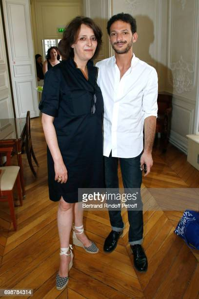 Actress Stephanie Bataille and Moliere awarded actor Vincent Dedienne attend the 'Caisse d'Epargne IleDeFrance' supports the Ceremony of the Molieres...