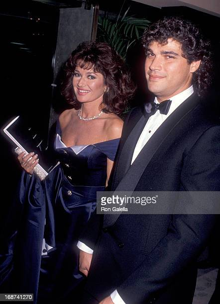Actress Stephanie Beacham and boyfriend Steve Silver attend the 47th Annual Golden Globe Awards on January 20 1990 at the Beverly Hilton Hotel in...