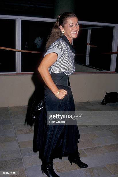 Actress Stephanie Beacham attends the 'Chuck Berry Hail Hail Rock 'n' Roll' Century City Premiere on October 8 1987 at the AMC Century 14 Theatres in...