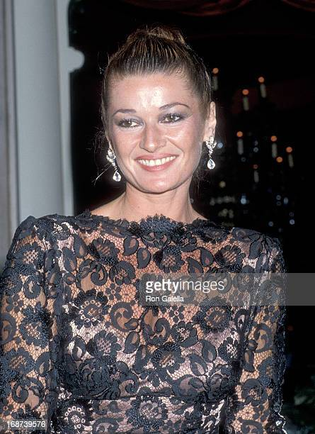Actress Stephanie Beacham attends 'The Colbys' Season One WrapUp Party on April 13 1986 at the Beverly Wilshire Hotel in Beverly Hills California