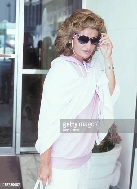 Actress Stephanie Beacham on June 21 1986 checks in at the Century Plaza Hotel in Century City California