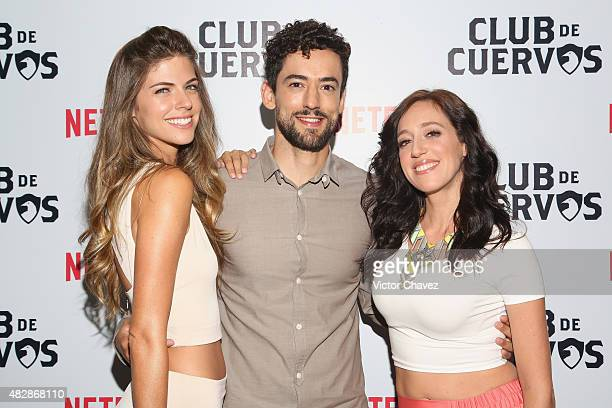Actress Stephanie Cayo actor Luis Gerardo Mendez and actress Mariana Trevino attend the 'Club De Cuervos' photocall at Cinepolis Plaza Carso on...