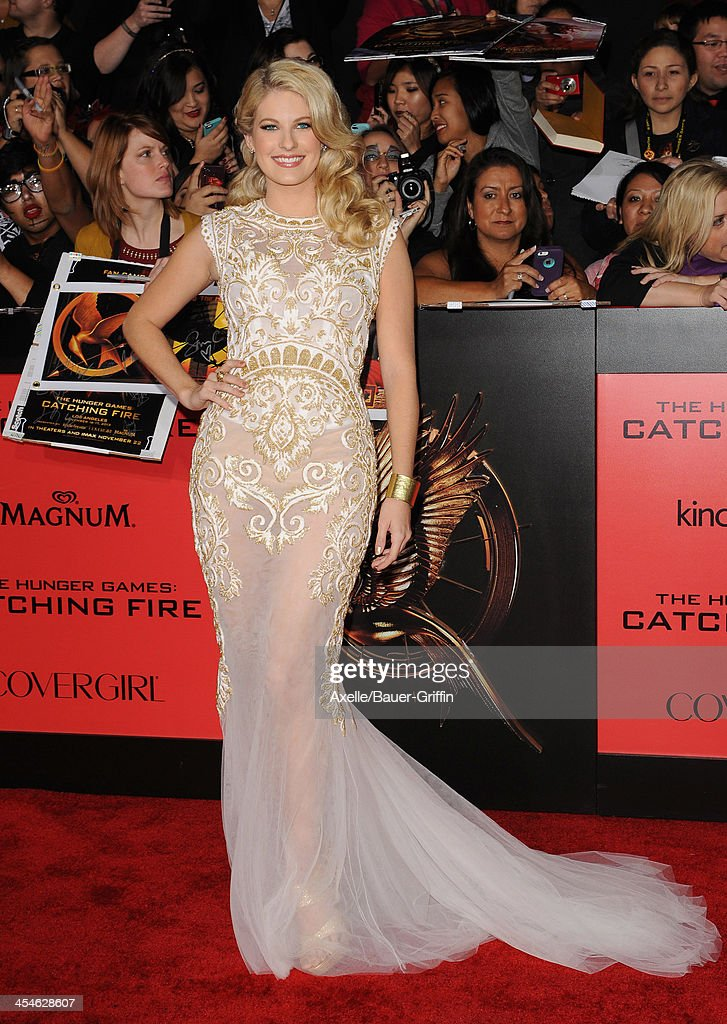 Actress Stephanie Leigh Schlund arrives at the Los Angeles Premiere of 'The Hunger Games: Catching Fire' at Nokia Theatre L.A. Live on November 18, 2013 in Los Angeles, California.