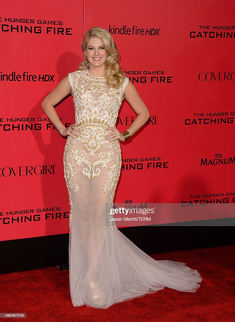 Actress Stephanie Leigh Schlund arrives at the premiere of Lionsgate's 'The Hunger Games: Catching Fire' at Nokia Theatre L.A. Live on November 18, 2013 in Los Angeles, California.