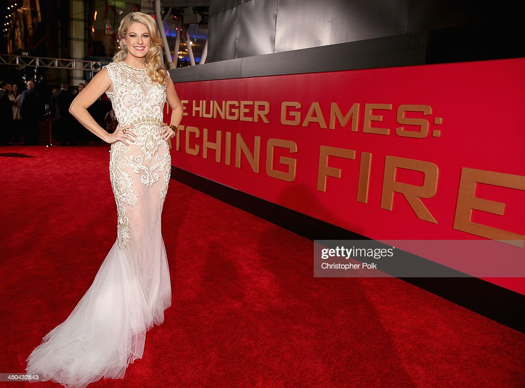 Actress Stephanie Leigh Schlund attends premiere of Lionsgate's 'The Hunger Games: Catching Fire' - Red Carpet at Nokia Theatre L.A. Live on November 18, 2013 in Los Angeles, California.