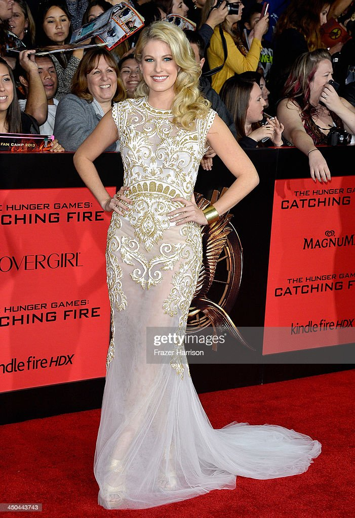 Actress Stephanie Leigh Schlund attends the premiere of Lionsgate's 'The Hunger Games: Cathching Fire' at Nokia Theatre L.A. Live on November 18, 2013 in Los Angeles, California.
