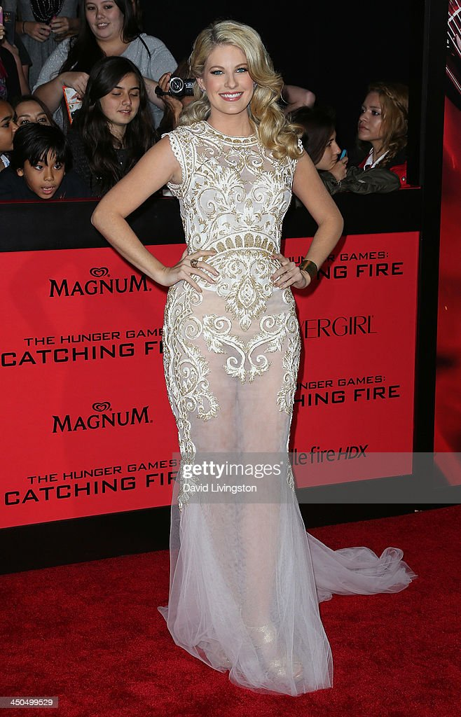 Actress Stephanie Leigh Schlund attends the premiere of Lionsgate's 'The Hunger Games: Catching Fire' at Nokia Theatre L.A. Live on November 18, 2013 in Los Angeles, California.