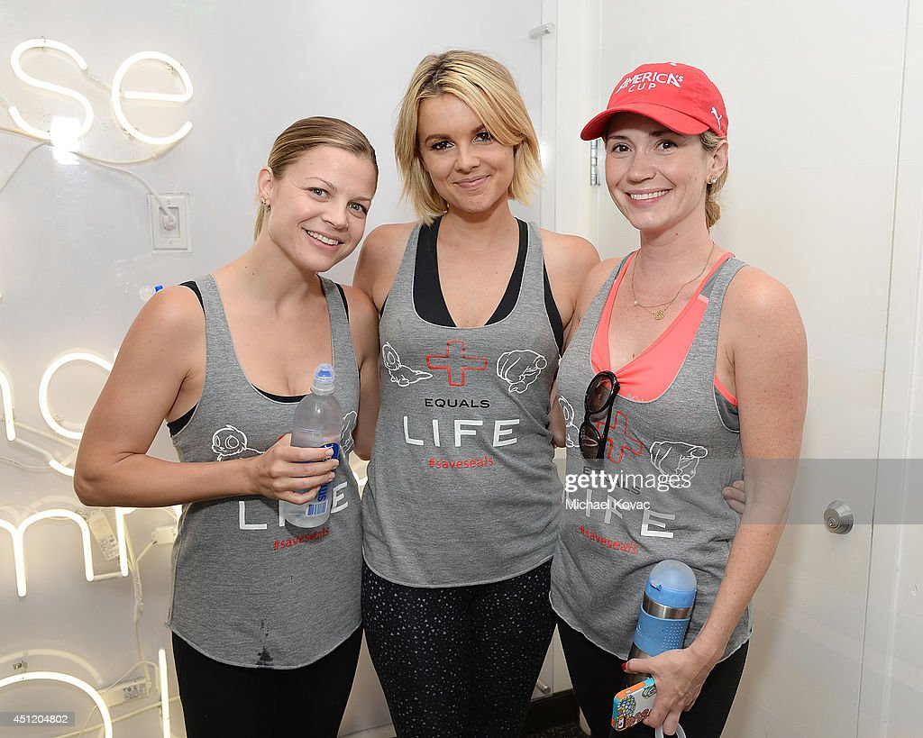 Actress Stephanie Lemelin, TV personality Ali Fedotowsky, and actress Ashley Jones attend the launch of Wheels for Seals benefiting The Humane Society Of The United States at Soul Cycle Beverly Hills on June 23, 2014 in Beverly Hills, California.