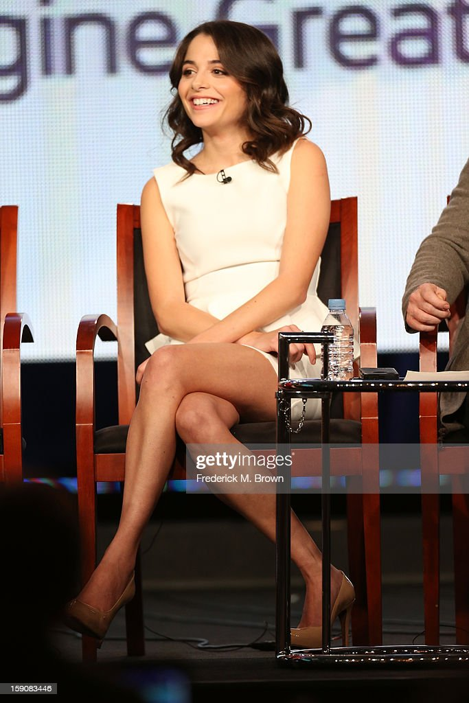 Actress Stephanie Leonidas speaks onstage at the 'Defiance' panel discussion during the Syfy portion of the 2013 Winter TCA Tour- Day 4 at the Langham Hotel on January 7, 2013 in Pasadena, California.