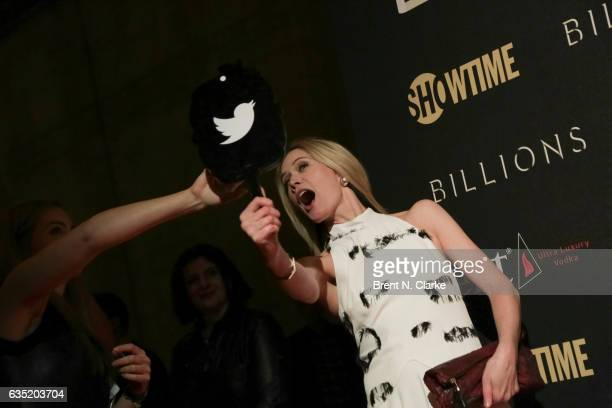 Actress Stephanie March sends out a 'tweet' during Showtime's 'Billions' Season 2 premiere held at Cipriani 25 Broadway on February 13 2017 in New...