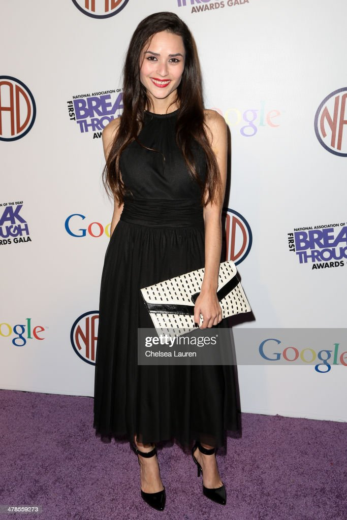 Actress Stephanie Nogueras arrives at the National Association Of The Deaf's 1st annual Breakthrough Awards at Hollywood Roosevelt Hotel on March 13, 2014 in Hollywood, California.