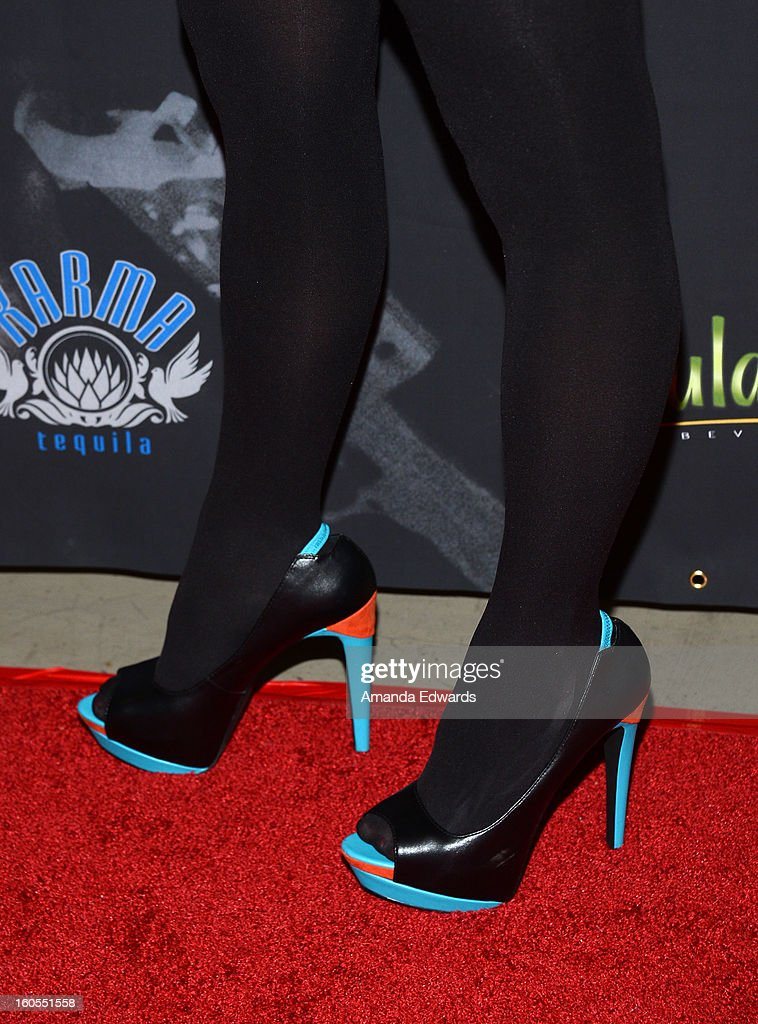 Actress Stephanie Ronalds (shoe detail) arrives at the Los Angeles Premiere of 'The Devil's Dozen' at Mann's Chinese 6 Theatres on February 1, 2013 in Hollywood, California.