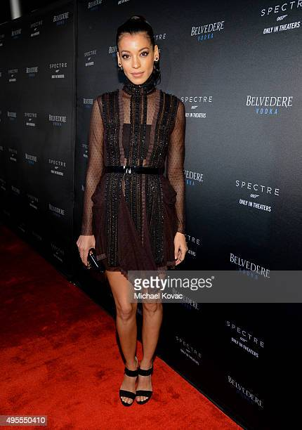 Actress Stephanie Sigman attends an exclusive screening of 'SPECTRE' hosted by Belvedere Vodka and Stephanie Sigman at ArcLight Cinemas Hollywood on...