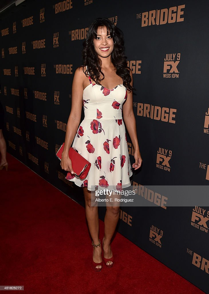 Actress <a gi-track='captionPersonalityLinkClicked' href=/galleries/search?phrase=Stephanie+Sigman&family=editorial&specificpeople=7187720 ng-click='$event.stopPropagation()'>Stephanie Sigman</a> attends the premiere of FX's 'The Bridge' at Pacific Design Center on July 7, 2014 in West Hollywood, California.