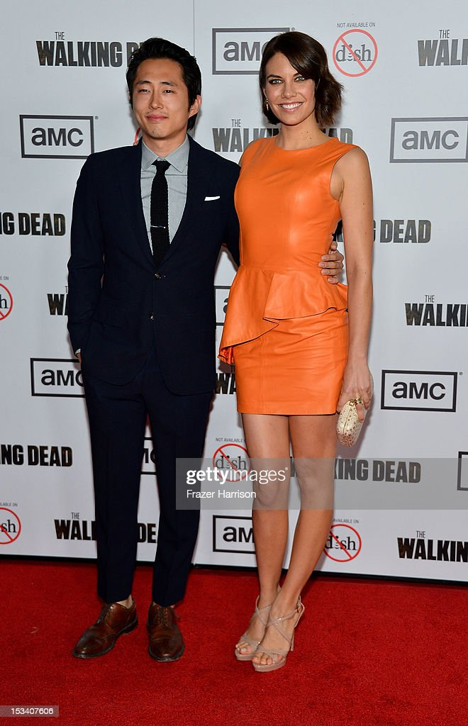 Actress Steven Yeun and Lauren Cohan arrives at the premiere of AMC's 'The Walking Dead' 3rd Season at Universal CityWalk on October 4, 2012 in Universal City, California.