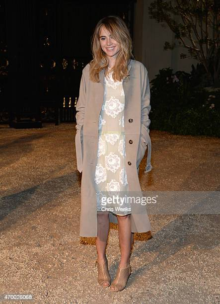 Actress Suki Waterhouse attends the Burberry 'London in Los Angeles' event at Griffith Observatory on April 16 2015 in Los Angeles California
