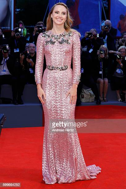Actress Suki Waterhouse attends the premiere of 'The Bad Batch' during the 73rd Venice Film Festival at Sala Grande on September 6 2016 in Venice...