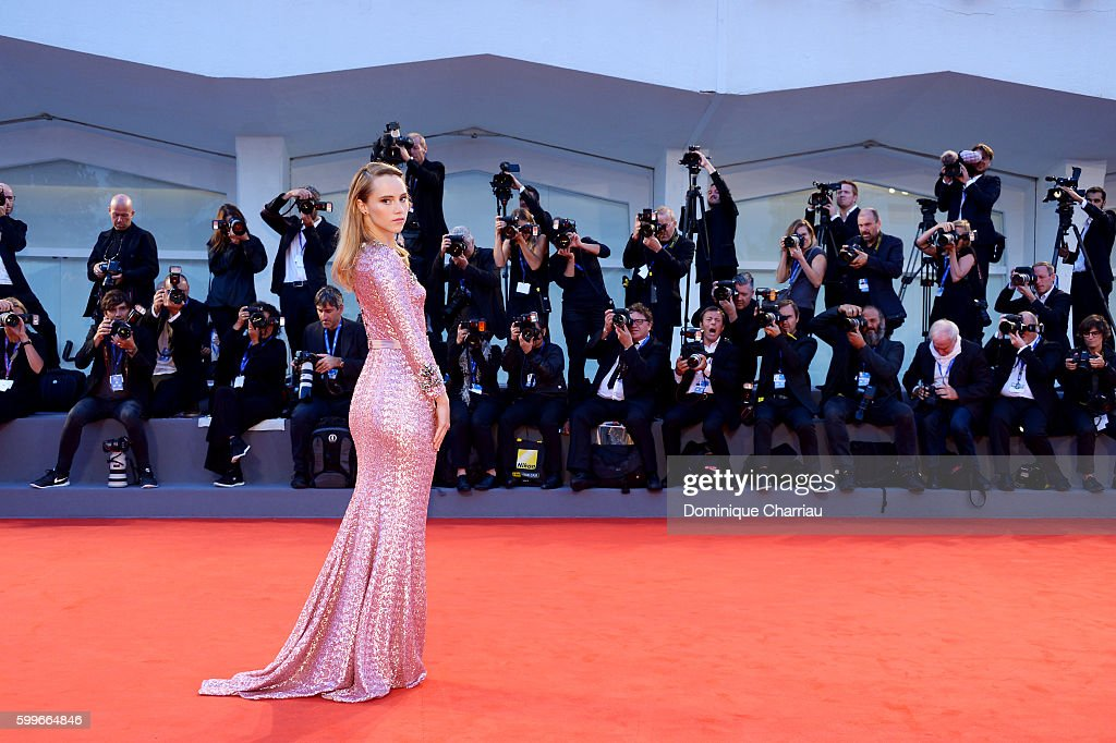Actress Suki Waterhouse attends the premiere of 'The Bad Batch' during the 73rd Venice Film Festival at Sala Grande on September 6, 2016 in Venice, Italy.