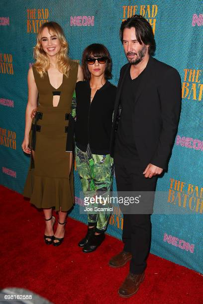 Actress Suki Waterhouse director Ana Lily Amirpour and actor Keanu Reeves attend thepremiere of Neon's 'The Bad Batch' at Resident on June 19 2017 in...